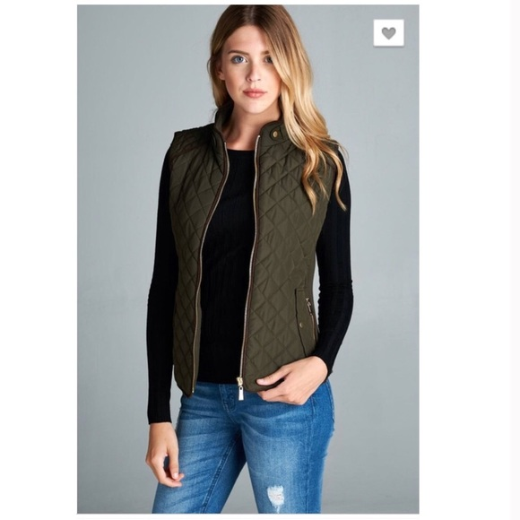 Jackets & Blazers - Olive Green Quilted Vest